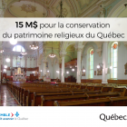 Quebec announces the attribution of a sum of $15 M for the preservation of the religious heritage